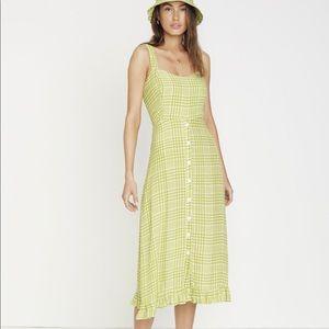 Faithfull The Brand Checked Crepe Midi Dress SizeS